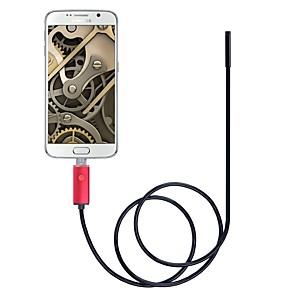 ieftine Microscop & Endoscop-Obiectiv de 5,5 mm 2 in 1 camera endoscop usb ip67 inspectie impermeabila borescope inspectie 2m lungime rosu pentru ferestre android