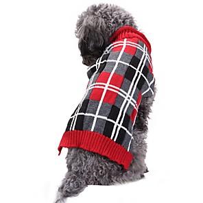 ieftine Pet Costume de Crăciun-Pisici Câine Haine Pulovere Crăciun Tartan / Carouri Geometic Englezesc Casul / Zilnic Keep Warm Nuntă Iarnă Îmbrăcăminte Câini Gri Costume Spandex Amestec In&Bumbac Chinlon XXS XS S M L XL