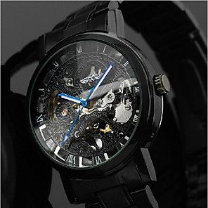 ieftine Ceasuri Bărbați-WINNER Bărbați Ceas de Mână ceas mecanic Mecanism automat Oțel inoxidabil Negru 30 m Gravură scobită Analog Lux Clasic Casual - Negru Albastru / Negru Argintiu / Roșu