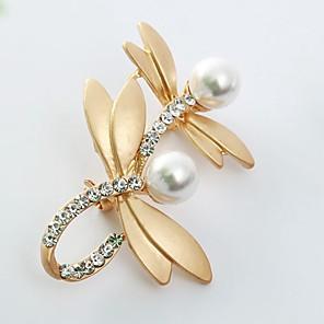 ieftine Broșe-Pentru femei Broșe libelulă Animal femei Dulce Imitație de Perle Diamante Artificiale Broșă Bijuterii Auriu Argintiu Pentru Zilnic