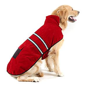 povoljno Odjeća za psa i dodaci-Pas Kaputi Reflektirajuća traka Zima Odjeća za psa Ugrijati žuta Hunter Green Crvena Kostim Brušena koža Pamuk Jednobojni Ugrijati S M L XL XXL