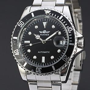 ieftine Ceasuri Bărbați-WINNER Bărbați Ceas Elegant Ceas de Mână ceas mecanic Mecanism automat Oțel inoxidabil Argint 30 m Calendar Analog Lux Clasic Casual - Negru