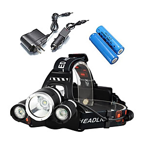 cheap Apple-Headlamps Bike Light Headlight Waterproof Rechargeable 5000 lm LED 3 Emitters 4 Mode with Batteries and Chargers Waterproof Rechargeable Impact Resistant Camping / Hiking / Caving Everyday Use Police
