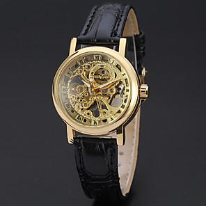 ieftine Ceasuri Bărbați-WINNER Pentru femei Ceas Schelet Ceas de Mână ceas de aur Mecanism manual Piele Negru 30 m Gravură scobită Analog femei Lux Vintage Casual Modă - Auriu Argintiu / Oțel inoxidabil