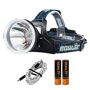 ieftine Frontale-Boruit® B10 Frontale 1200 lm LED 1 emițători 4.0 Mod Zbor cu Baterii și Cabluri USB Profesional Ajustabil Camping / Cățărare / Speologie Utilizare Zilnică Polițist / Militar Negru / Aliaj de Aluminiu