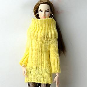 ieftine Haine Păpușă Barbie-Păpușă de păpuși Tops Pentru Barbie Galben Material de Lână Lână artificială Vârf Pentru Fata lui păpușă de jucărie
