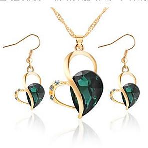 ieftine Cuarț ceasuri-Pentru femei Cristal Cercei Picătură Lănțișor Inimă Clasic Modă Cristal Diamante Artificiale cercei Bijuterii Verde / Albastru Pentru Zilnic