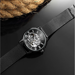 ieftine Ceasuri Bărbați-Bărbați Pentru femei Ceas Schelet Ceas Militar  ceas mecanic Japoneză Mecanism automat Negru / Argint 30 m Rezistent la Apă Calendar Cronograf Analog Lux Vintage Aristo Gunmetal Watch Crăciun - Negru