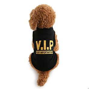 ieftine Imbracaminte & Accesorii Căței-Câine Tricou Literă & Număr Iarnă Îmbrăcăminte Câini Respirabil Negru Costume Bumbac XS M L