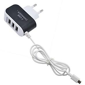 abordables Transformador de Voltaje-Cargador Portátil Cargador usb Enchufe UE Puertos Múltiples 3 Puertos USB 3.1 A para