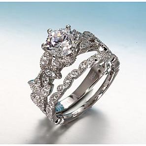 ieftine Inele-Pentru femei Band Ring Seturi de inele Belle Ring Diamant Zirconiu Cubic diamant mic 2 Argintiu Articole de ceramică Argilă Circle Shape femei Corean Nuntă Logodnă Bijuterii stivuibil Leaf Shape