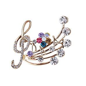 ieftine Brățări-Pentru femei Broșe Muzică Notă Muzicală femei Clasic Modă Diamante Artificiale Broșă Bijuterii Auriu Pentru Zilnic