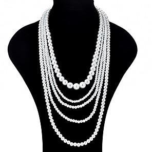 ieftine Colier la Modă-Pentru femei Coliere Layered Colier lung, femei Asiatic Modă Supradimensionat Imitație de Perle Alb Coliere Bijuterii Pentru Ceremonie Bal Promisiune Costume Cosplay