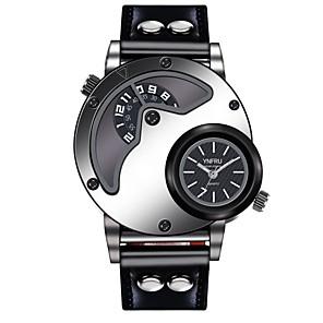 ieftine Benzi Lumină LED-YNFRU Bărbați Ceas de Mână Quartz Supradimensionat Piele Negru / Maro Ceas Casual Cool Mare Dial Analog - Digital Casual Modă Unic Watch Creative - Alb Negru Maro / Oțel inoxidabil