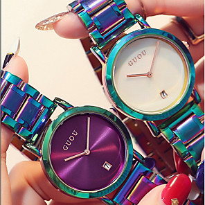 ieftine ceasuri digitale pentru femei-Pentru femei femei Ceas de Mână Quartz Casual Rezistent la Apă Oțel inoxidabil Verde / Violet Analog - Alb Negru Mov Doi ani Durată de Viaţă Baterie / Japoneză / Calendar / Cronograf / Japoneză