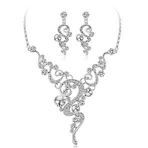 ieftine Seturi de Bijuterii-Pentru femei Diamant Zirconiu Cubic diamant mic Seturi de bijuterii Geometric Floare femei Elegant Zirconiu Argilă cercei Bijuterii Argintiu Pentru Nuntă Serată / Cercei