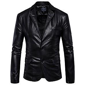 Недорогие VGA-Муж. Рубашечный воротник Кожаные куртки Обычная Однотонный Офис Уличный стиль Длинный рукав Черный Коричневый M L XL