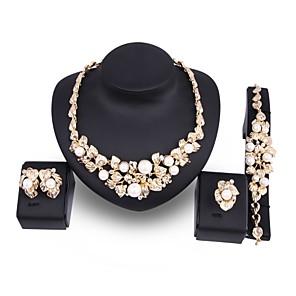 ieftine Seturi de Bijuterii-Pentru femei Perle Seturi de bijuterii Leaf Shape Floare Declarație femei Elegant Supradimensionat 18K Placat cu Aur Imitație de Perle Placat Auriu cercei Bijuterii Auriu Pentru Nuntă Petrecere