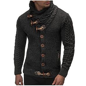 ieftine Bluze de Bărbați și Cardigane-Bărbați Mată Cardigan Manșon Lung Zvelt Regular Pulover Cardigans Guler Pe Gât Toamnă Iarnă Negru Gri Închis Maro / Sfârșit de săptămână