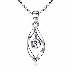 ieftine Colier la Modă-Pentru femei Diamant sintetic Coliere cu Pandativ Solitaire simulat faceter Leaf Shape femei Vintage Modă Zirconiu Articole de ceramică Argintiu Coliere Bijuterii Pentru Zilnic Concediu