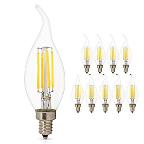 ieftine Cabluri Ethernet-10pcs 4 W Bec Filet LED 360 lm E14 C35L 4 LED-uri de margele COB Lumină LED Decorativ Edison Bulb Alb Cald Alb Rece 220-240 V / RoHs