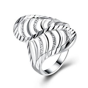 baratos Relógios Femininos-Mulheres Anel de banda anel de embrulho Zircônia Cubica Prata Prata Chapeada Forma Geométrica senhoras Fashion Presente Diário Jóias