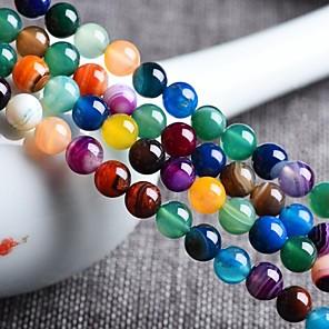 ieftine Kit-uri de Bijuterii-DIY bijuterii 48 buc Χάντρες Agat Curcubeu Rotund Şirag de mărgele 0.8 cm DIY Coliere Brățări