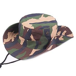ieftine Pălării, Șepci & Bandane-Bărbați Pentru femei Căciulă Soare Pălărie de pescuit Καπέλο πεζοπορίας Boonie pălărie Wide Brim Vară În aer liber Cremă Cu Protecție Solară Rezistent la UV camuflaj Bumbac Verde Militar Albastru