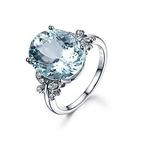 ieftine Inele-Pentru femei Band Ring Zirconiu Cubic High Crystal 1 buc Albastru Deschis Zirconiu Argintiu Circle Shape Geometric Shape femei Vintage De Bază Nuntă Logodnă Bijuterii Solitaire Oval