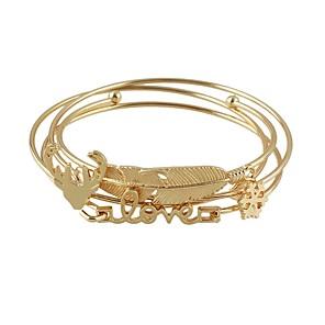 baratos Relógios Femininos-4pçs Mulheres Bracelete Pilha Formato de Folha senhoras Básico Fashion Liga Pulseira de jóias Dourado Para Diário Encontro