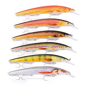 ieftine Momeală Pescuit-6 pcs Δόλωμα Momeală Dură Plevușcă Exterior Scufundare Bass Păstrăv Ştiucă Pescuit mare Momeală pescuit Pescuit cu undițe tractate & Pescuit din barcă Plastic