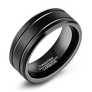 ieftine Inele-Bărbați Band Ring Groove Inele Negru Oțel titan Oțel Tungsten Titan Circle Shape Modă Bijuterii inițială Zilnic Oficial Bijuterii Clasic Temă Clasică