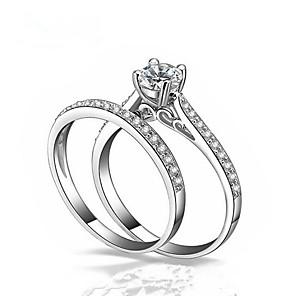 ieftine Inele-Pentru cupluri Inele Cuplu inel de înfășurare Diamant Zirconiu Cubic 2pcs Alb Articole de ceramică Circle Shape Modă Nuntă Cadou Bijuterii