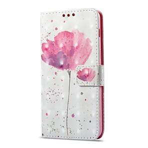 Недорогие Чехлы и кейсы для Galaxy A8-Кейс для Назначение SSamsung Galaxy A8 2018 / A8+ 2018 Бумажник для карт / со стендом / Флип Чехол Цветы Твердый Кожа PU