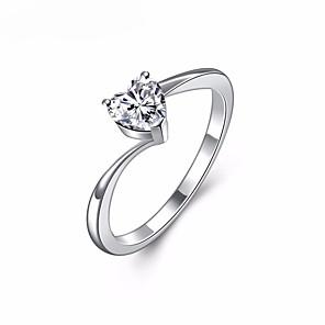 ieftine Inele-Pentru femei Inele Cuplu Inel inel de înfășurare Diamant Cristal Zirconiu Cubic Argintiu Aliaj Dulce Elegant Nuntă Mascaradă Bijuterii simulat Inimă Iubire