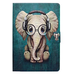 ieftine Machiaj Halloween-Maska Pentru Apple iPad Mini 3/2/1 / iPad Mini 4 Titluar Card / Cu Stand / Întoarce Carcasă Telefon Animal / Elefant Greu PU piele