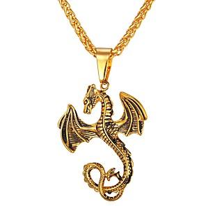 ieftine Coliere-Bărbați Coliere cu Pandativ lanțul franco Balaur Animal satanic Teak Auriu Argintiu Coliere Bijuterii 1 Pentru Zilnic Stradă