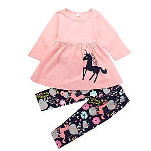 ieftine Brățări-Copil Fete Casual Zilnic Concediu Unicorn Floral Imprimeu Animal Ruched Stil modern Desene Manșon Lung Lung Lung Bumbac Set Îmbrăcăminte Roz Îmbujorat / Draguț