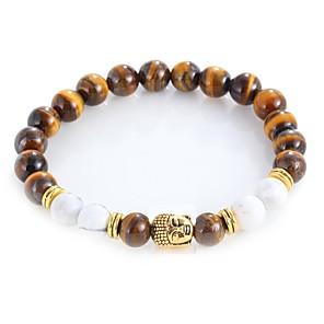 ieftine Brățări-Bărbați Pentru femei Onyx Piatra de ochi Tiger Brățări cu Mărgele Brățară chakra Vintage Boem Modă EQUILIBRIO Aliaj Bijuterii brățară Auriu / Argintiu Pentru Zilnic Serată