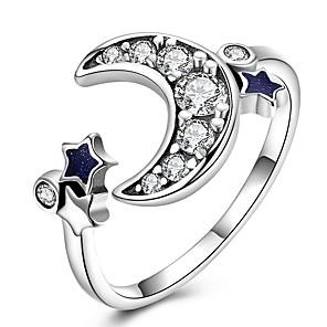 baratos Relógios Femininos-Mulheres Anel de banda anel de embrulho anel de polegar Zircônia Cubica pequeno diamante Prata Prata de Lei Zircão Chapeado Dourado senhoras Clássico Vintage Diário Trabalho Jóias MOON