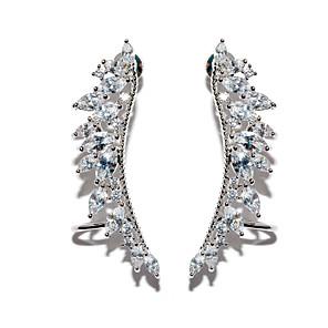 ieftine Cercei-Pentru femei Zirconiu Cubic moissanite diamant mic Cercei Stud Cătușe pentru urechi Căști de cățărare Aripi de inger femei European Dulce Modă Elegant De Fiecare Zi Zirconiu cercei Bijuterii Argintiu