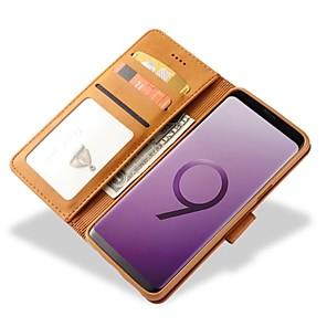 halpa Galaxy S -sarjan kotelot / kuoret-Etui Käyttötarkoitus Samsung Galaxy S9 / S9 Plus / S8 Plus Lomapkko / Korttikotelo / Iskunkestävä Suojakuori Yhtenäinen Kova aitoa nahkaa