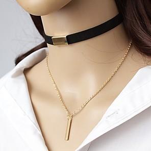 voordelige Ketting-Dames Choker kettingen Kraag Siernagel Eenvoudig Elegant Leder Legering Bruin Zwart Kettingen Sieraden Voor Uitgaan