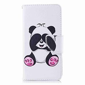 hesapli Huawei İçin Kılıflar / Kapaklar-Pouzdro Uyumluluk Huawei P10 Lite / P10 / P9 lite mini Cüzdan / Kart Tutucu / Satandlı Tam Kaplama Kılıf Panda Sert PU Deri
