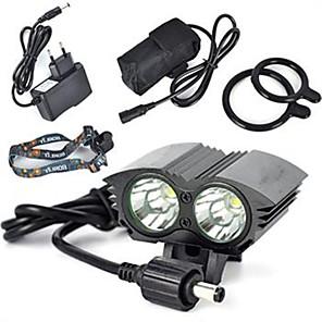 ieftine Frontale-Frontale 6000 lm LED LED emițători 1 Mod Zbor Profesional Rezistent la uzură Ușor Camping / Cățărare / Speologie Ciclism Vânătoare Negru Auriu Rosu