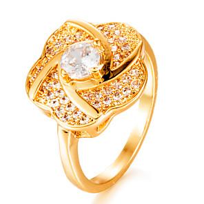 ieftine Audio & Video-Pentru femei Band Ring Diamant Zirconiu Cubic diamant mic Auriu Placat Auriu Geometric Shape femei Modă Nuntă Cadou Bijuterii HALO
