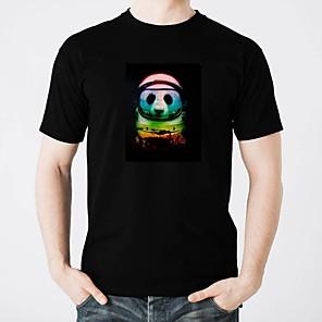 お買い得  LED T シャツ-LED Tシャツ きらきら ピュアコットン LED カジュアル 2×単四電池