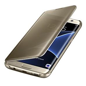 Недорогие Чехлы и кейсы для Galaxy J-Кейс для Назначение SSamsung Galaxy S8 Plus / S8 / S7 edge Зеркальная поверхность / Флип / Авто Режим сна / Пробуждение Чехол Однотонный Твердый Кожа PU