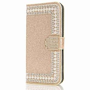 baratos Capinhas para Galaxy Série S-Capinha Para Samsung Galaxy S9 / S9 Plus / S8 Plus Carteira / Porta-Cartão / Com Strass Capa Proteção Completa Glitter Brilhante / Flor Rígida PU Leather
