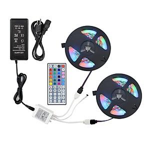 ieftine Benzi Lumină LED-Zdm 2 * 5m 2835 rgb 600 leduri 8mm 36w banda flexibilă led cu kit de control de la distanță 44key ir și 12v 3a alimentare alimentare ac110-240v